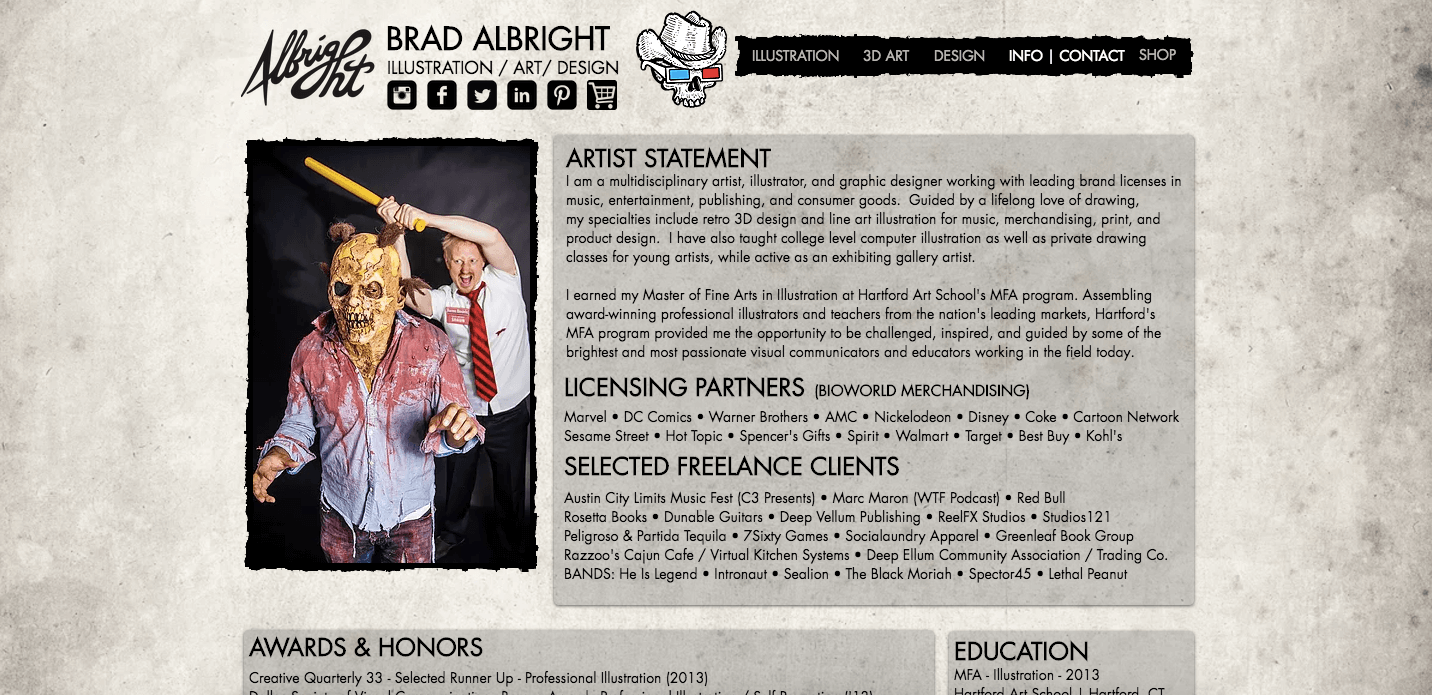 Artist Websites - Brad Albright