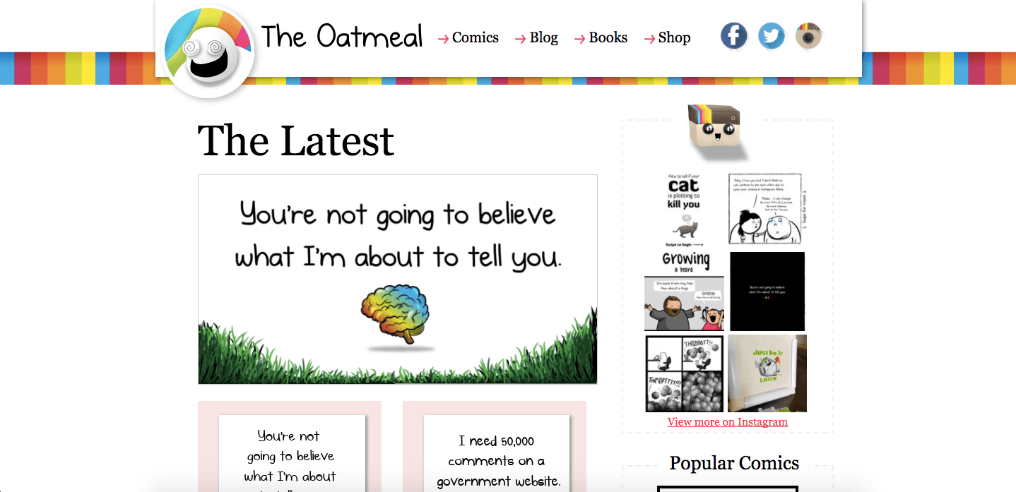 Artist Websites - The Oatmeal